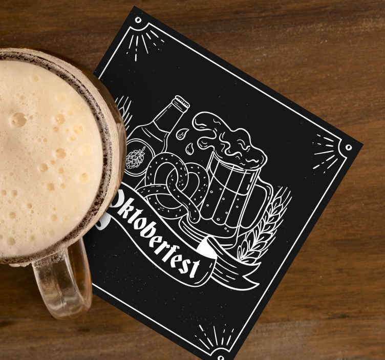 TenStickers. Cold beer with name bear coasters. Special rare beer mat for beer lovers . This design is made with beer bottle and filled beer cup on black background. The product is of high quality.