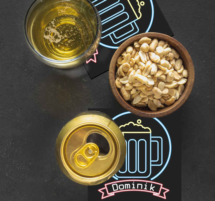 TenStickers. Neon beer with name bear coasters. Cheap beer mat with beer cup design in neon that you can buy in the most minimalist price with the best of quality in the market.