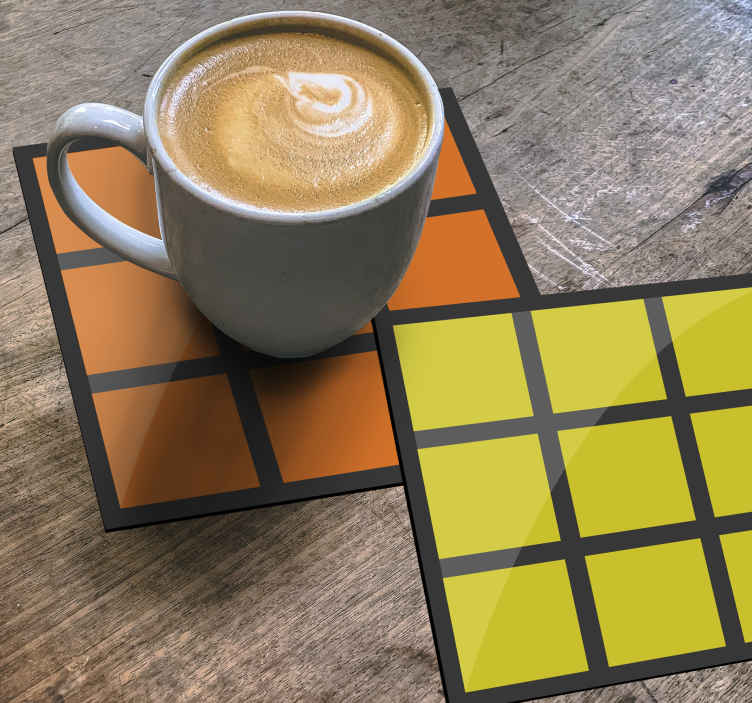 TenStickers. Cube Game geeky coasters. Buy our modern drink coaster design made with the pattern of cube games. The quality is top notch with durability. It is easy to clean and store.