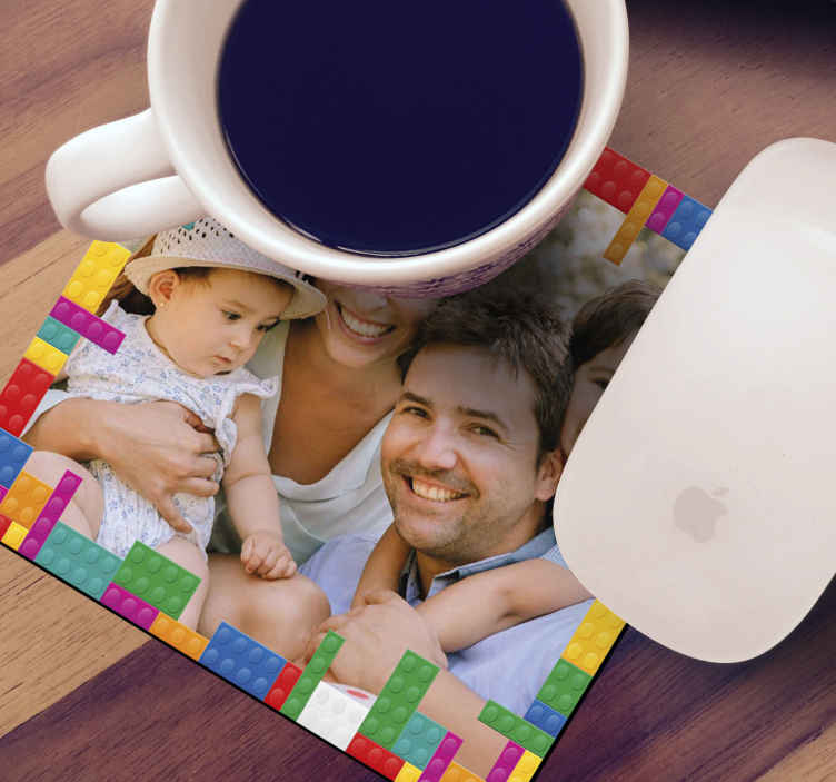 TenStickers. Toy blocks with image geeky coasters. Upload your own image to create your own drink coaster with our product designed with toy bricks as a border. It is available in different pack set.