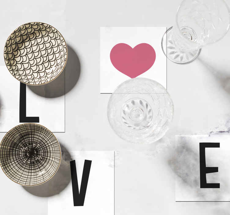 TenStickers. Love sayings coasters. Cup coaster with a simple love text with heart shape design.  A lovely product to serve all your drinks and beverages with class on a table surface.