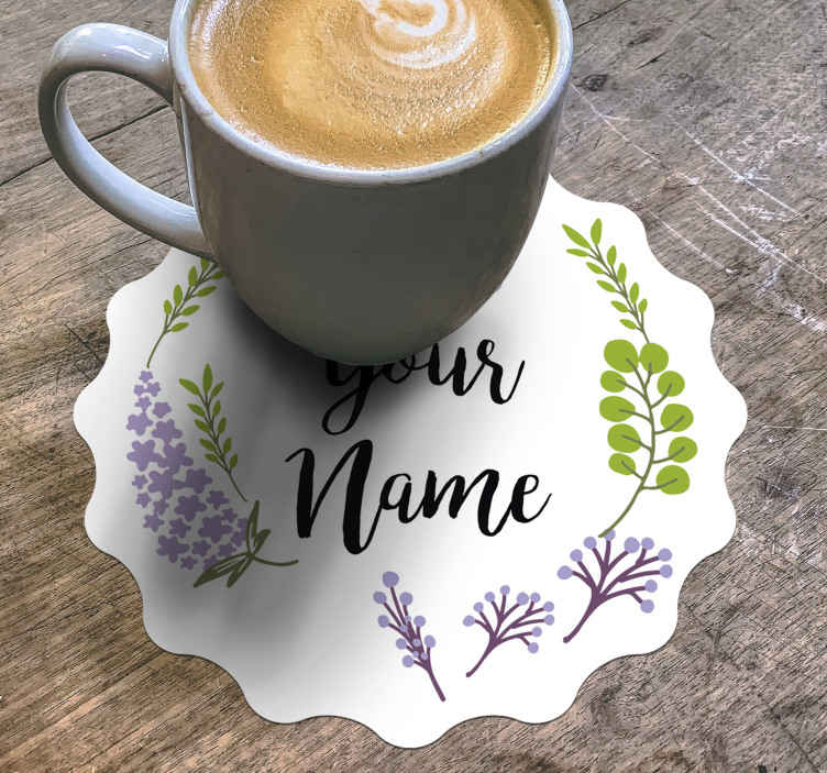 TenStickers. Floral with name personalised beer mats. Customize your name or desired text in our original custom coaster featured with ornamental floral designs. Easy to use and maintain.