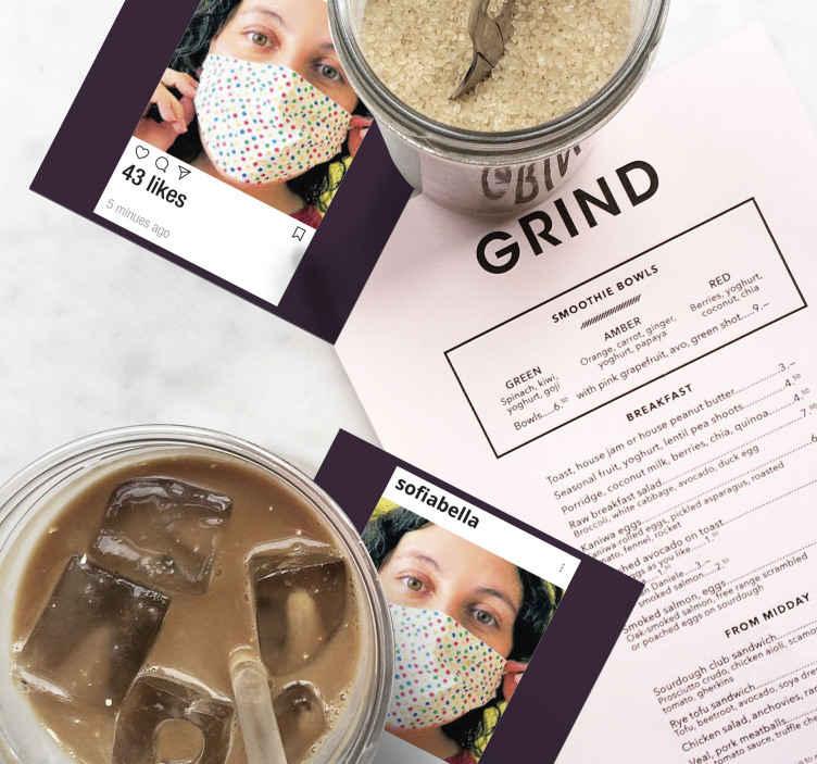 TenStickers. Instagram с фото и текстом персонализированных подставок. Теперь вы можете настроить свои собственные фотографии для подставки под напитки с нашим продуктом. Он прост в использовании, обслуживании и против аллергии.
