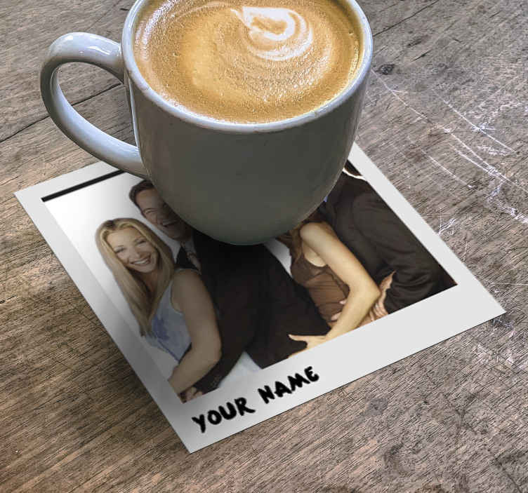 TenStickers. Polaroid frame personalised beer mats. Now you can personalize your drink coaster with your own image and text and enjoy satisfaction with great quality and durability with our coaster.