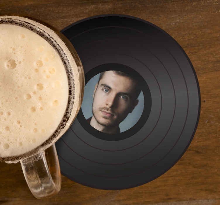 TenStickers. disc with photography personalised beer mats. Customize your own image on our high quality modern coasters.  Upload your image to create your own style for your coaster.