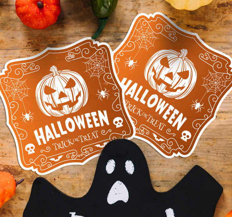 TenStickers. Halloween drink coaster. Surprise your friends with our Halloween design for drink coaster as you enjoy serve them drink for Halloween festival party.
