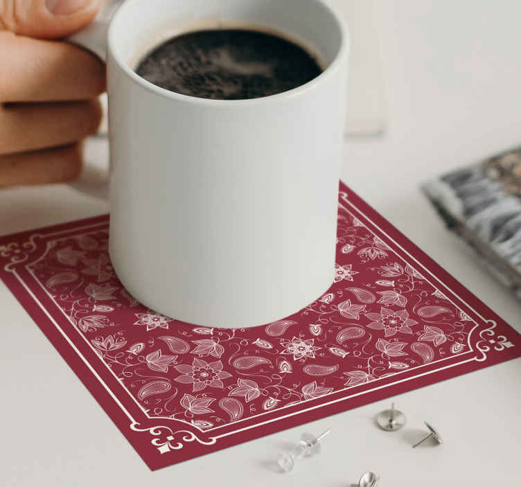 TenStickers. Beautiful paisley flowers drink coaster. An amazing red color drink coaster with ornamental paisley design. It is made with high quality material and very easy to maintain.