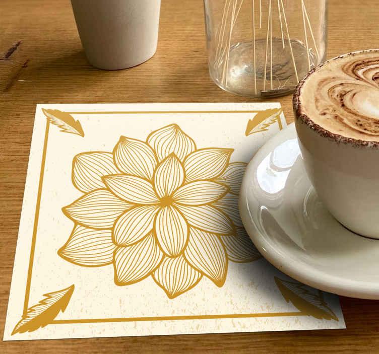 TenStickers. 花卉群佩斯利喝杯垫. 杯垫产品放在桌子上,在厨房和餐桌上为您提供饮料和饮料。易于清洁并且有包装