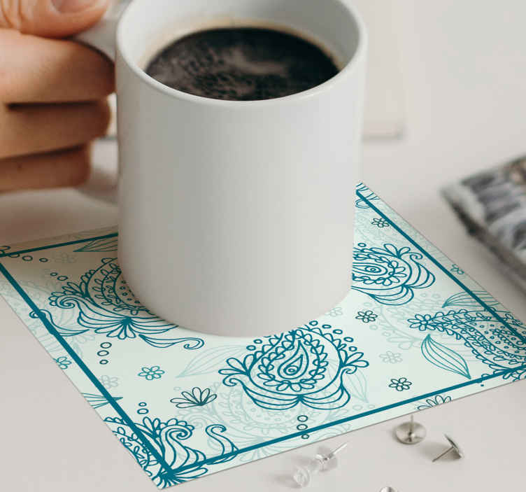 TenStickers. Floral paisley drink coaster. Beautiful drink coaster to serve guest and family  drinks of all sort . The product is made in square shape with the prints of paisley.