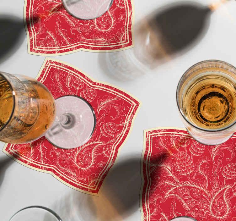 TenStickers. Paisley onderzetters Paisley illustratie. Een geweldige drink rode achtergrond met goede randen onderzetter met paisley design. Het is origineel en gemaakt van hoogwaardig materiaal met resistent vermogen.