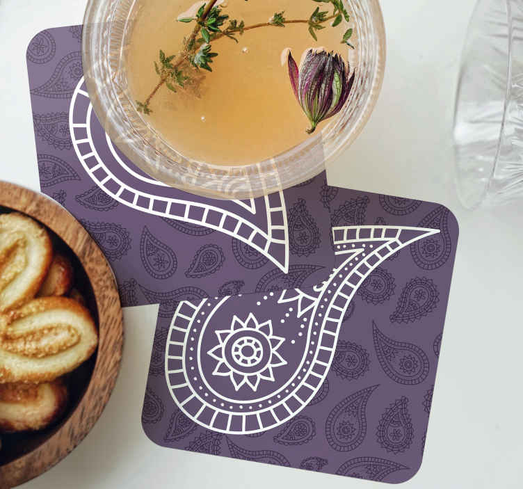 TenStickers. Retro paisley drink coaster. Enjoy your drink service on a table with our beautiful drink coaster made with paisley design on purple background. The product is available in packs.