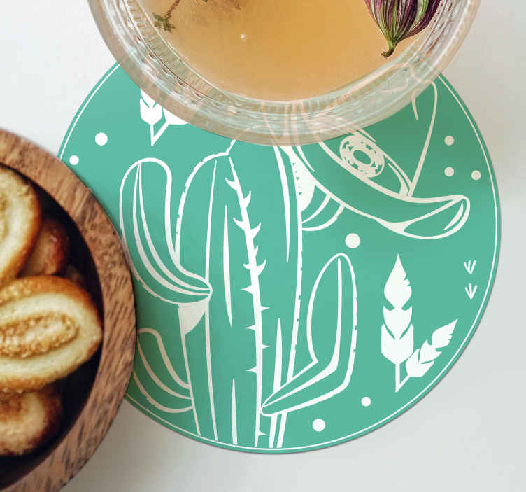 TenStickers. Cactus and hat western pattern drink coaster. Our perfect drink coaster design for anyone who love cowboy and the western style. The product is easy to maintain and the quality is top.