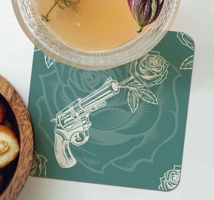 TenStickers. Cowboy revolver and rose drink coaster. Bring cowboy's vibe with love to your home in our amazing drink coaster designed with a revolver shooting roses. It is easy to maintain and store.
