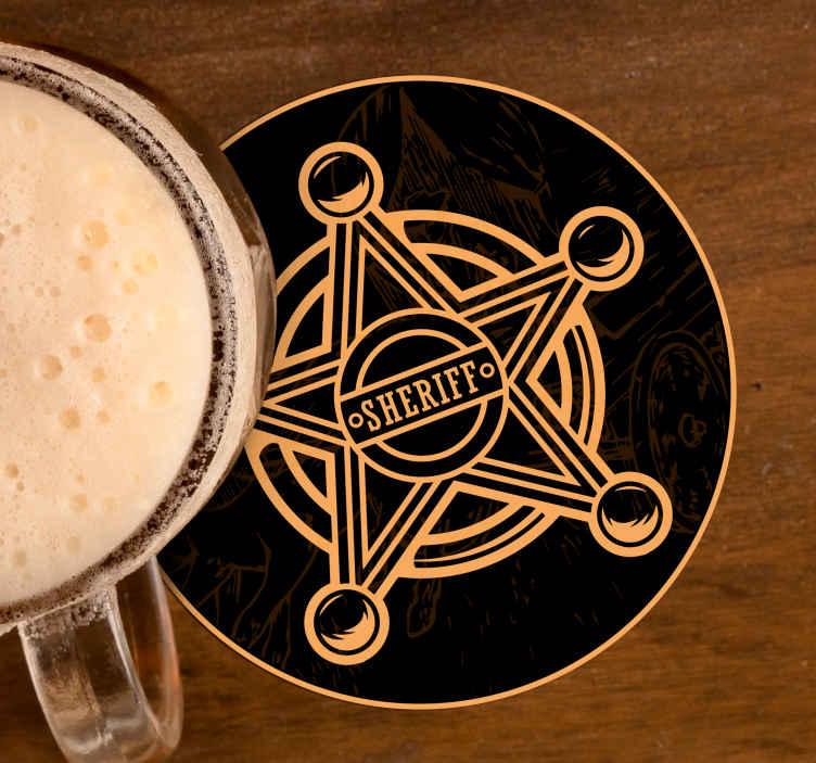 TenStickers. 牛仔明星喝杯垫. 牛仔图案喝杯垫,带警长徽章的设计。该产品质量优良,易于维护。