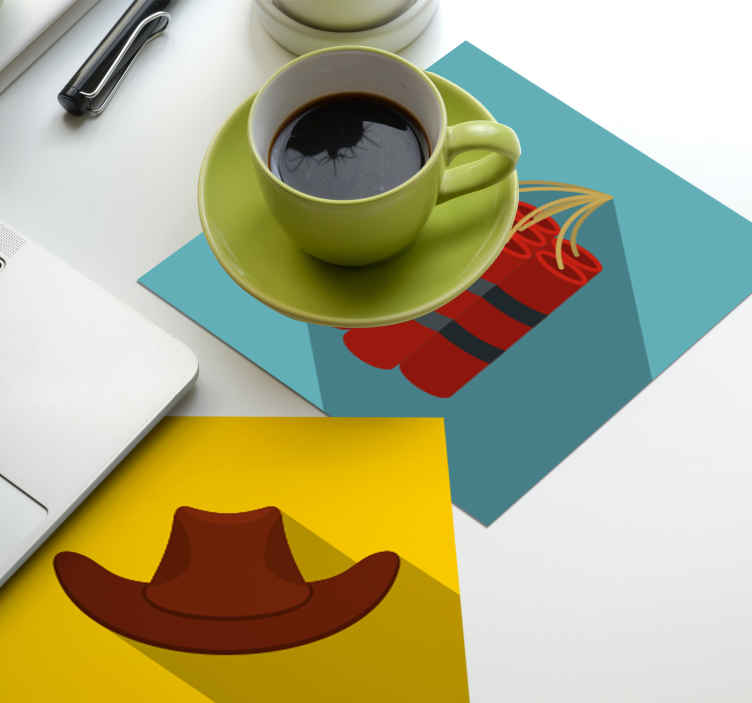 TenStickers. Cowboy tiles drink coaster. Add this beautiful cowboy's featured drink coaster to your bar and dinning table space for drinks. It is made of high quality.