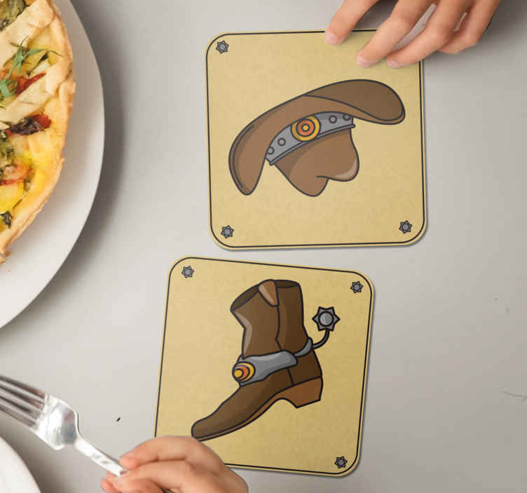 TenStickers. Hat and boots pattern drink coaster. Beautiful western style drink coaster.  The product is featured with the design of cowboy's hat and boot . It is made with high quality material.