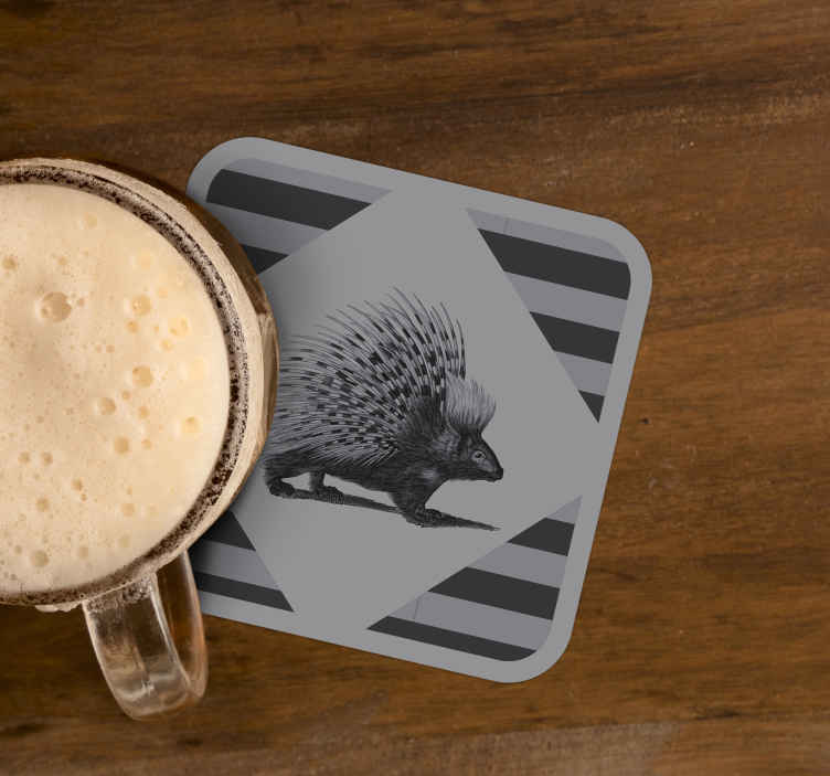TenStickers. Porcupine art black and white drink coaster. A beautiful black and white animal drink coaster design created with the realistic appearance of a porcupine walking. Made of best quality material.