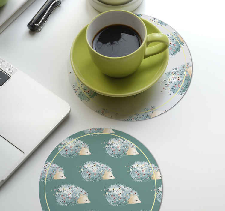 TenStickers. Porcupine art drink coaster. Porcupine pattern drink coaster to serve drinks such as coffee, juice tea, wine etc. It is made from high quality material and easy to maintain.