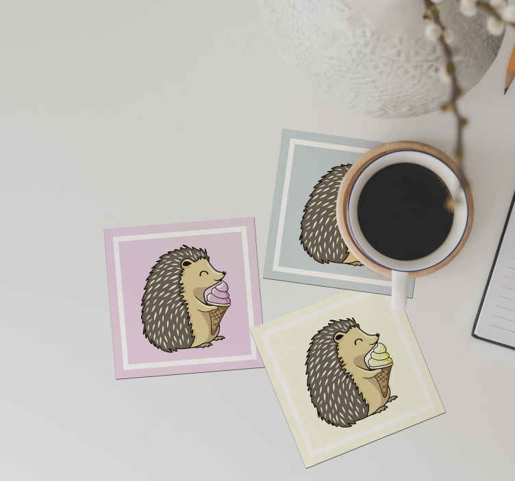 TenStickers. Yummy porcupine drink coaster. Serve your tea and coffee drinks on our porcupine drink coaster design and feel amazed by the decorative touch it would add on your table space.