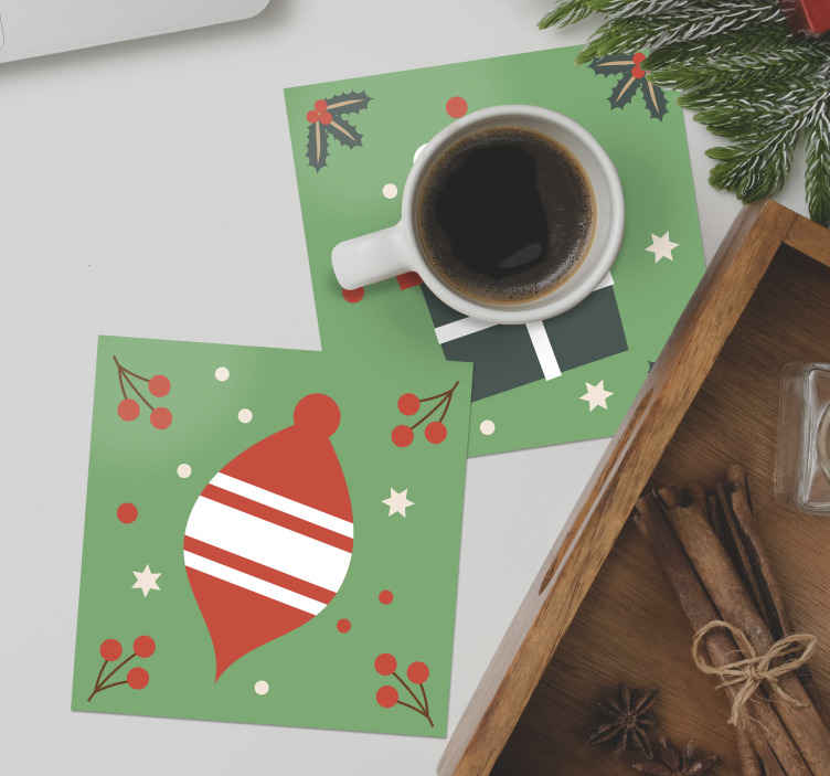 TenStickers. Christmas candy pattern drink coaster. Green background Christmas drink coaster design with different ornamental prints, you would certainly love this design. Made of high quality.