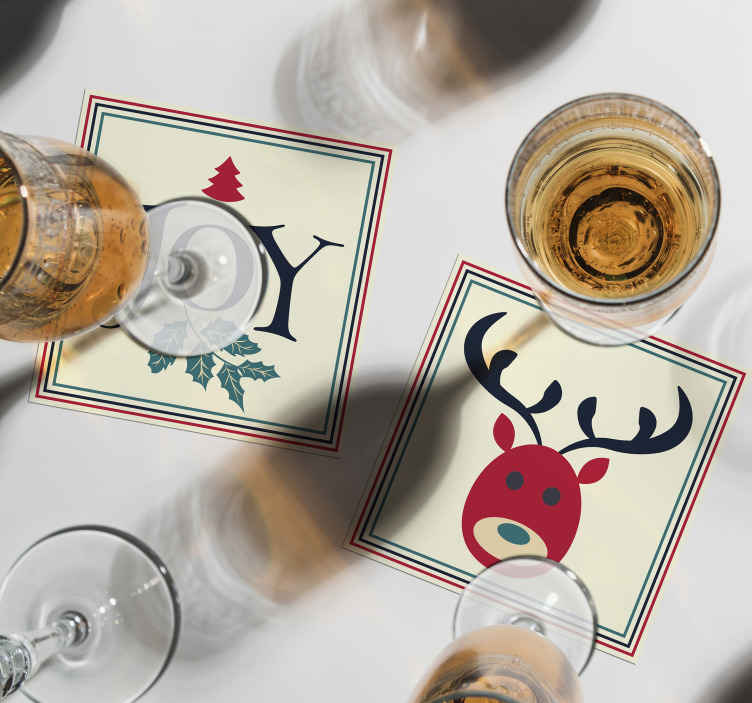 TenStickers. Joy and Reindeer drink coaster. Joy and Reindeer Christmas drink coaster. The design comes in a pack set, easy to maintain and of high quality material.