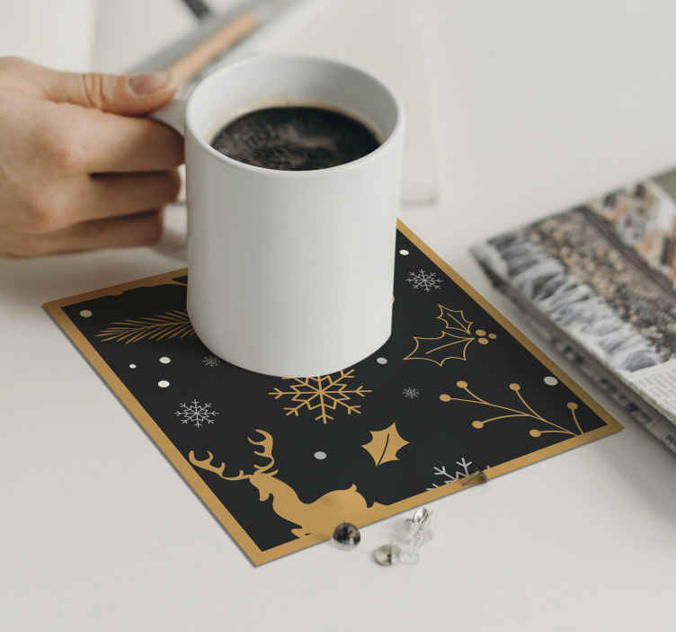 TenStickers. Merry Christmas composition drink coaster.  Merry Christmas composition drink coaster. The design is made on black background with ornamental features for Christmas.