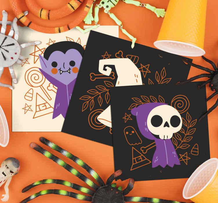 TenStickers. 可爱的万圣节怪物喝杯垫. 可爱的万圣节怪物喝杯垫。这是万圣节儿童的建议设计,其中包含带有其他装饰性特征的可爱小幽灵。