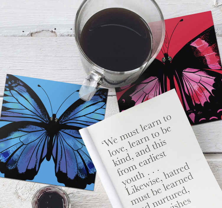 TenStickers. Beautiful and Colorful butterfly coaster set. Beautiful butterfly drink coaster that you can have in different colours. Suitable for home and restaurant space. Original and highly durable.