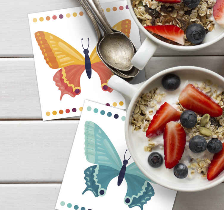 TenStickers. Bicolor Butterflies butterfly coaster set. Beautiful colorful butterfly rectangular drink coaster that you can have in different colours. Suitable for home and restaurant space.