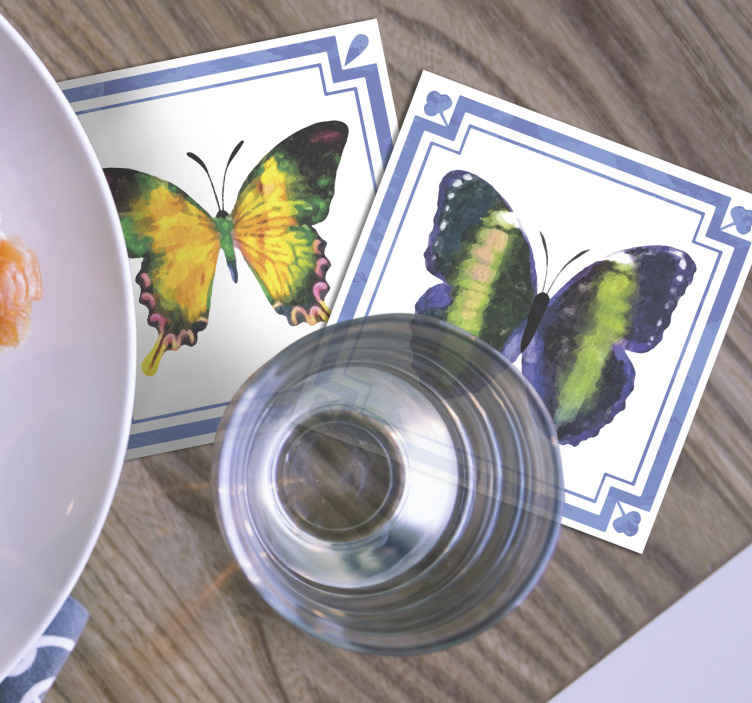 TenStickers. colorful butterflies tiles butterfly coaster set. Butterfly coaster set for table. Enjoy your drink been served on our quality drink with butterfly pattern. It is original, durable and durable.
