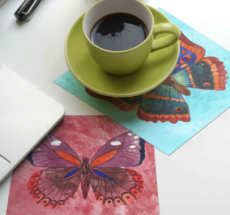TenStickers. multicolored Butterfliescoaster set. Multicolored butterflies coaster with textured colour background. A design coaster of large beautiful butterfly that you would certainly admire.