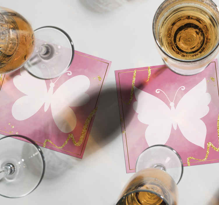 TenStickers. Pink butterflies butterfly coaster set. A delicate different shades pink butterfly coaster to decorate your table and make your drinking more fun than ever! Worlwide delivery!