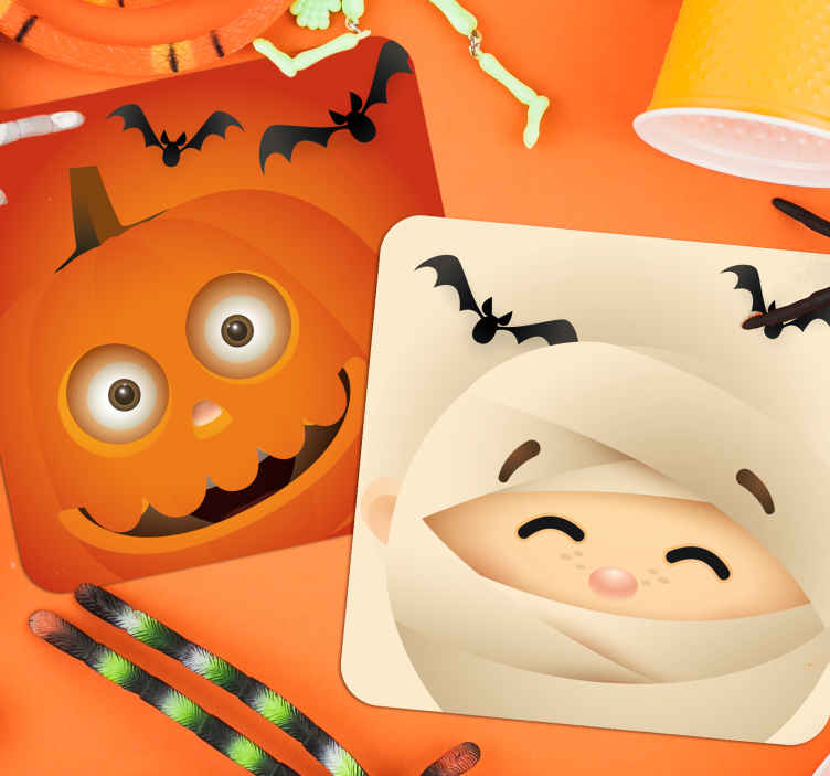 TenStickers. Cute kids halloween coaster. These child friendly Halloween coaster designs feature a cartoon pumpkin and a mummy surrounded by bats. +10,000 satisfied customers.