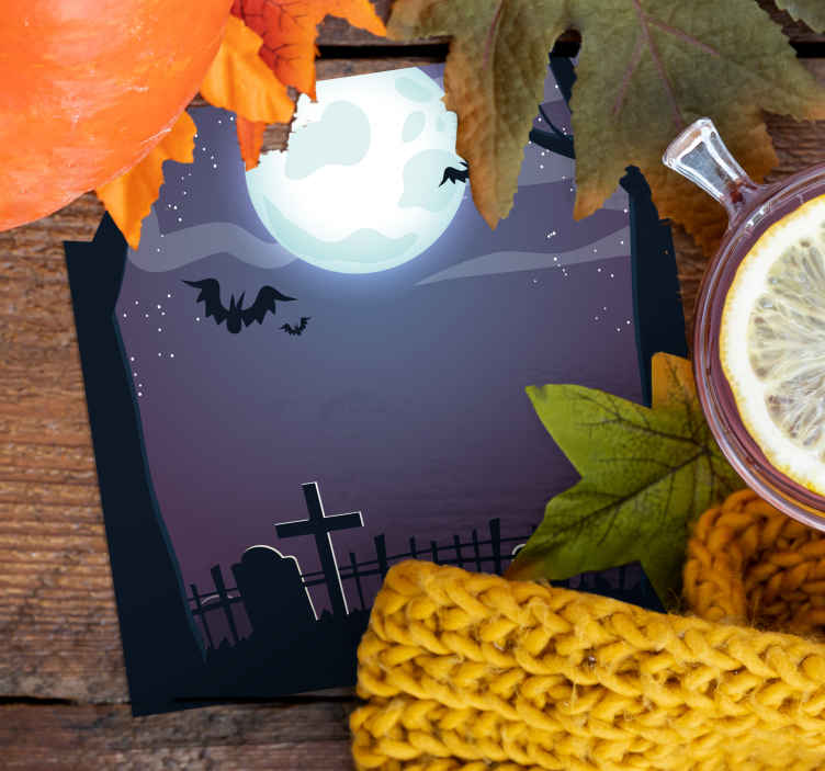 TenStickers. Spectral halloween night halloween coaster. A scary halloween coaster to get your home decor ready for spooky season! Super easy to clean and will look great in your home.