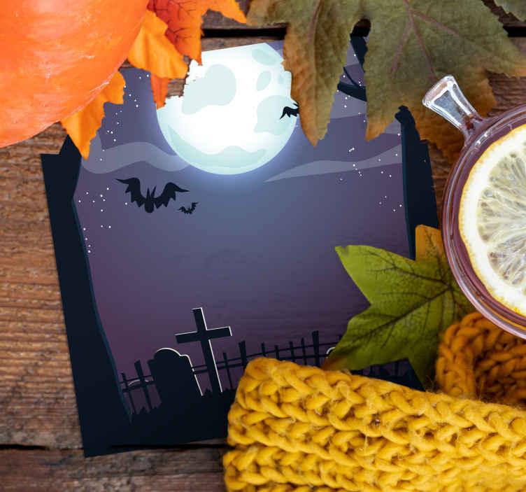 TenVinilo. Posavasos noche Halloween en cementario. ¡Posavasos aterrador de halloween para preparar la decoración de tu hogar para la temporada espeluznante! Elige tu pack