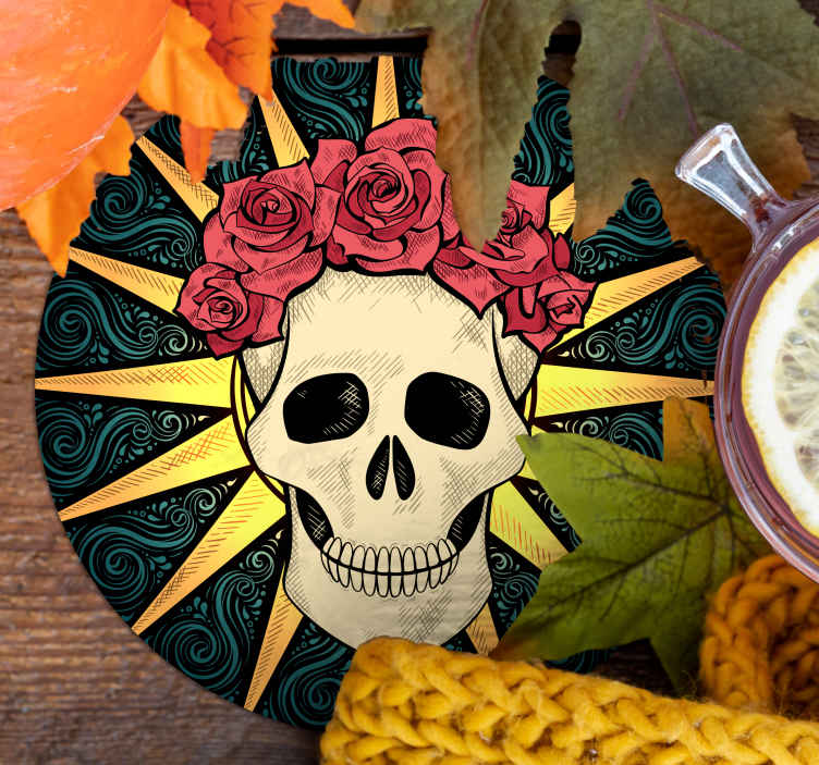 TenStickers. women skull with rose halloween coaster. The most amazing skeleton halloween themed coaster to place your drinks on. The perfect size for every surface in your home.