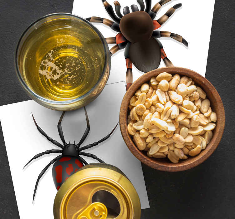 TenStickers. Realistic Spider halloween coaster. This spider coaster design features a realistic looking spider on a white background. Extremely long-lasting vinyl material.