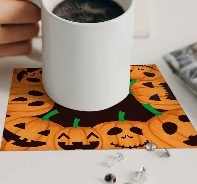 TenStickers. many halloween cupkins with different faces halloween coaster. Carved pumpkin is one major element that depicts Halloween. This is why we have made this carved pumpkins drink coaster with face expressions for you.