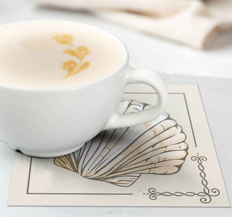TenStickers. Large vintage seashell coasters. Seashell coaster set which features a hand drawn image of a seashell with a vintage border. High quality materials used.