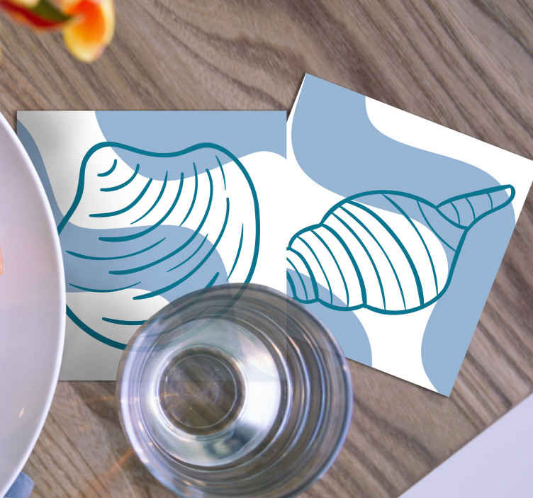 TenStickers. Seashells patterns seashell coasters. If you love classic decors and want to give your table a undersea touch, these seashells patterns placemats are perfect for you.