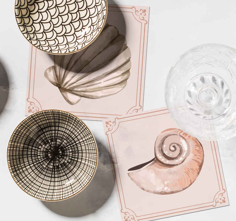 TenStickers. seashells seashell coasters. If you love classic decors and want to give your table a undersea touch, these seashells placemats are perfect for you..
