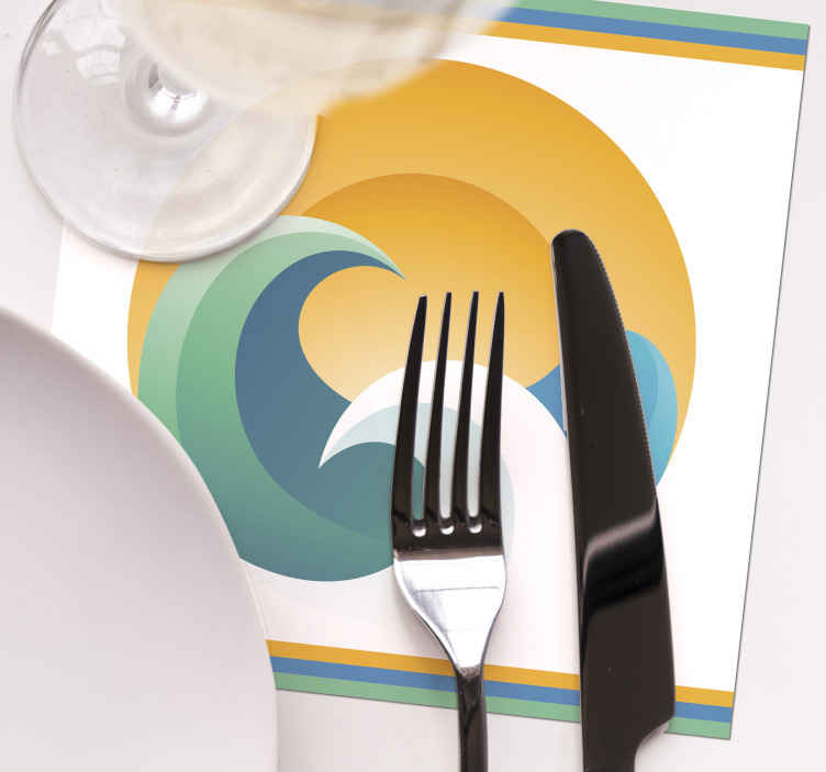 TenStickers. Sun and waves 70s coaster set. Let this 70s coaster share the joy with this sun wave design. A nice design for homes, restaurants and bars, available in different sets of packs,
