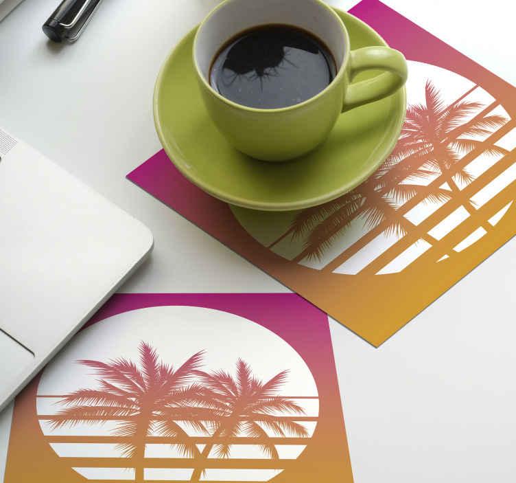 TenStickers. пальмы на солнце набор горок 70-х годов. Используйте оригинальные пальмы и подставки для загара, чтобы защитить вашу мебель от напитков. качественный и прочный товар доставлен к вам на дом!