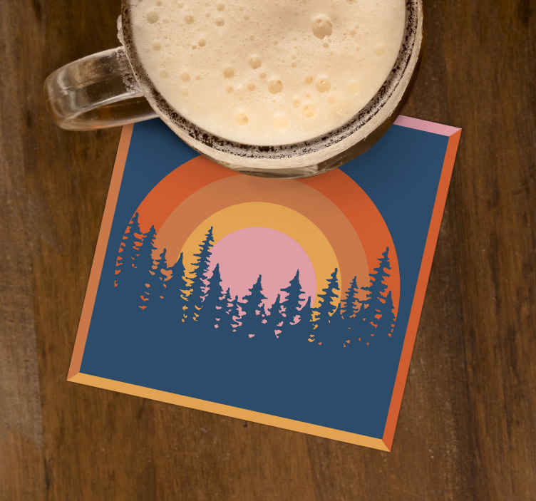 TenStickers. Vintage Sun and trees 70s coaster set. Original designs to prevent a mess or any damage on your furniture. Stripes sunset and pine trees coasters with a 3D effect with the size of 10x10.