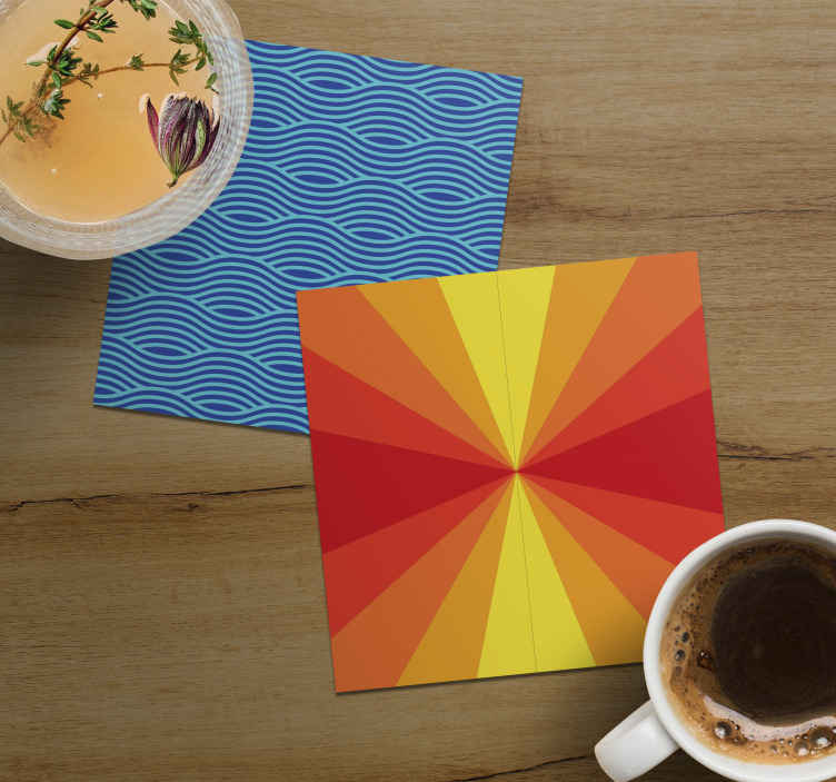 TenStickers. Vintage Sunset 70s coaster set. A resistant vintage and sea sunset coaster to protect any furniture from drinks while looking amazing. Delivery to your front door!