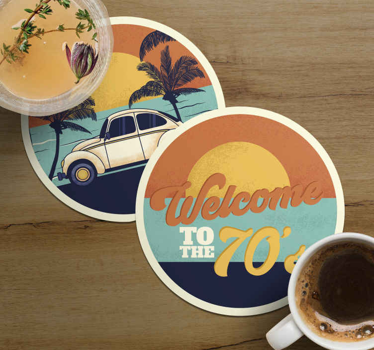 TenStickers. Welcome to 70's retro coasters. For all those 70's lovers who are in need of coasters. A welcome to the 70's sunset by the beach coasters to put any drink on it.