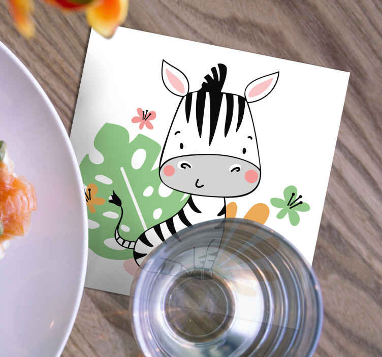 TenStickers. Beautiful Zebra for kids zebra coaster. This is an animal drink coaster to impress your guests and your children!  The material is very durable and spills can be cleaned without any effort.