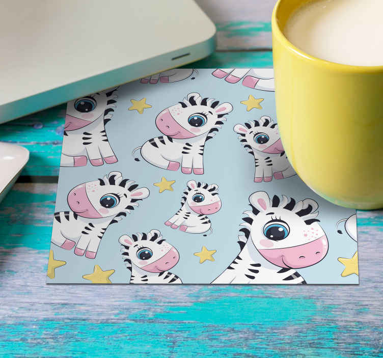 TenStickers. Cute Zebra and Stars zebra coaster. Lovely zebra drink coaster to serve all your amazing beverages and coffee. you can bay it in any one of the pack sets available on the website.