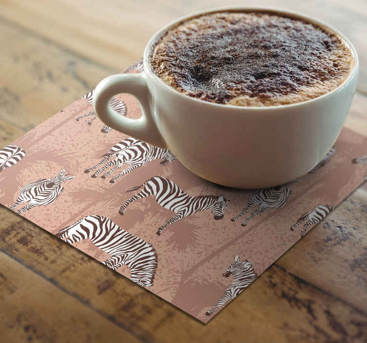 TenStickers. Brown Palm Trees and Zebra coaster. Zebra coaster set which features a pattern of zebras in different positions on a brown background. High quality materials.