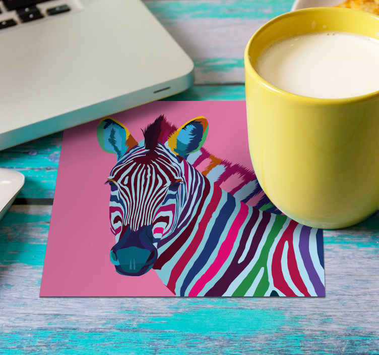 TenStickers. Zebra Pop Art modern coaster. Why not add the Zebra Print Coaster to your cart now and choose the necessary sect of pack category in the field section.